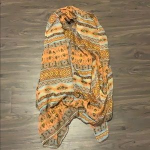 Peach and light blue tribal scarf, never worn